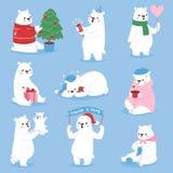 Bożenarodzeniowego białego niedźwiedzia piękna charakteru wektorowego zwierzęcego ślicznego śmiesznego stylu różne pozy świętują  Obraz Stock