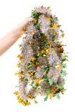 Bożenarodzeniowego dekoraci świecidełka złocisty drzewo w żeńskiej ręce Obraz Royalty Free