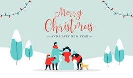 Bożenarodzeniowego i szczęśliwego nowego roku wintertime rodzinna karta royalty ilustracja