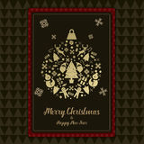 Bożenarodzeniowego i Szczęśliwego nowy rok karty czerni ikony złocista piłka Zdjęcie Royalty Free