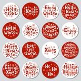 Bożenarodzeniowego nowego roku prezenta round majchery Przylepia etykietkę xmas set sporządzić dekoracyjna element ręka Kolekcja  Zdjęcia Stock