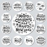 Bożenarodzeniowego nowego roku prezenta round majchery Przylepia etykietkę xmas set sporządzić dekoracyjna element ręka Kolekcja  Zdjęcie Stock