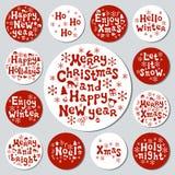Bożenarodzeniowego nowego roku prezenta round majchery Przylepia etykietkę xmas set sporządzić dekoracyjna element ręka Kolekcja  Obrazy Royalty Free