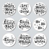 Bożenarodzeniowego nowego roku prezenta round majchery Przylepia etykietkę xmas set sporządzić dekoracyjna element ręka Kolekcja  Obraz Royalty Free