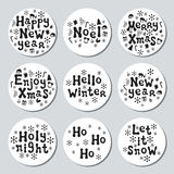 Bożenarodzeniowego nowego roku prezenta round majchery Przylepia etykietkę xmas set sporządzić dekoracyjna element ręka Kolekcja  Zdjęcia Royalty Free