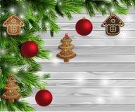 Bożenarodzeniowego nowego roku projekta drewniany tło Zdjęcia Stock