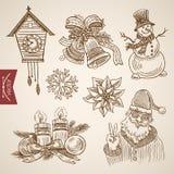 Bożenarodzeniowego nowego roku Santa handdrawn śmiesznego bałwanu retro wektor royalty ilustracja