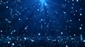 Bożenarodzeniowego powitań tła błękitny temat z płatków śniegu, połysk świateł i cząsteczek bokeh w temacie, Zdjęcie Stock