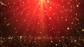 Bożenarodzeniowego powitań tła czerwony temat z płatków śniegu, połysk świateł i cząsteczek bokeh w temacie, Obrazy Royalty Free