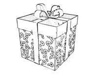 Bożenarodzeniowego prezenta pudełka kolorystyki książki czerni nakreślenia Biała kreskówka ilustracji