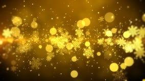 Bożenarodzeniowego ruchu tła materiału filmowego złocisty temat z złotym płatkiem śniegu, zaświeca w eleganckim i eleganckim tema Zdjęcia Royalty Free