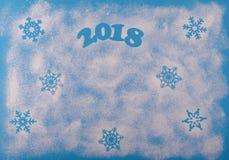 Bożenarodzeniowego Szczęśliwego nowego roku Wakacyjny skład na Błękitnym tle Odgórny widok Zdjęcie Royalty Free
