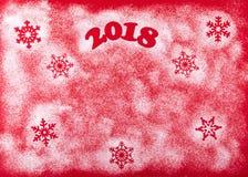 Bożenarodzeniowego Szczęśliwego nowego roku Wakacyjny skład na Czerwonym tle Odgórny widok Zdjęcie Royalty Free