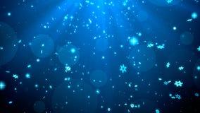Bożenarodzeniowego tła błękitny temat z płatkami śniegu, błyszczącymi światłami w temacie, eleganckim i eleganckim Obraz Stock