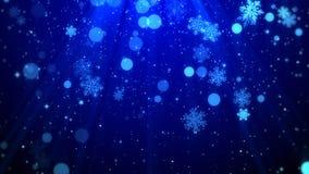 Bożenarodzeniowego tła błękitny temat z płatkami śniegu, błyszczącymi światłami w temacie, eleganckim i eleganckim Zdjęcia Stock