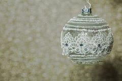 Bożenarodzeniowego tła Biały ornament Zdjęcie Stock