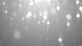Bożenarodzeniowego tła biały temat z płatkami śniegu, błyszczącymi światłami w temacie, eleganckim i eleganckim Fotografia Stock