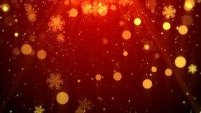 Bożenarodzeniowego tła czerwony temat z płatkami śniegu, błyszczącymi światłami w temacie, eleganckim i eleganckim Zdjęcie Royalty Free