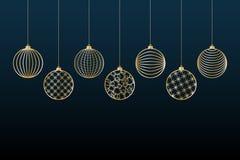 Bożenarodzeniowego tła Złociste piłki bawją się na błękitnego tła Świątecznym tle dla bożych narodzeń i nowego roku wzoru złoto l royalty ilustracja