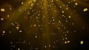 Bożenarodzeniowego tła złocisty temat z płatkami śniegu, jarzeniowym bokeh i połyskiem, zaświeca w eleganckim temacie Fotografia Royalty Free