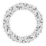 Bożenarodzeniowego wianku płaska ilustracja z holly pinecone i roślinami Obrazy Royalty Free