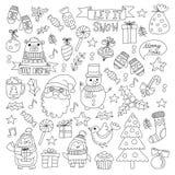 Bożenarodzeniowego Xmas nowego roku doodle Wektorowy set ikony z Święty Mikołaj, pingwin, bałwan, niedźwiedź, teraźniejszość, boż royalty ilustracja