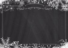 Bożenarodzeniowego zima płatka śniegu retro granica i blackboard textured Zdjęcie Royalty Free