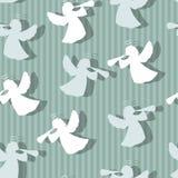 Bożenarodzeniowej anioł sylwetki bezszwowy wzór Zdjęcia Stock