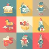 Bożenarodzeniowej chararters cukierków nowego roku ikony mieszkania stylu ustalony pojęcie ilustracja wektor