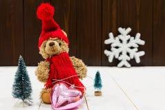 Bożenarodzeniowej dekoraci świąteczny miś Zdjęcie Royalty Free