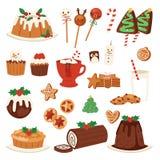 Bożenarodzeniowej karmowej wektorowej deser wakacyjnej dekoraci xmas gościa restauracji rodzinny cukierki ilustracji