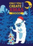 Bożenarodzeniowej nocy Bigfoot potwora lasowego strasznego kartka z pozdrowieniami tła sztandaru wakacji zimy xmas ręki wektorowy ilustracja wektor