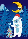 Bożenarodzeniowej nocy Bigfoot potwora lasowego strasznego kartka z pozdrowieniami tła sztandaru wakacji zimy xmas ręki wektorowy royalty ilustracja
