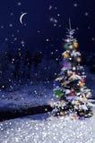 Bożenarodzeniowej nocy pocztówka Święta dekorują odznaczenie domowych świeżych pomysłów Zdjęcia Royalty Free