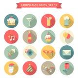 Bożenarodzeniowej nowy rok ikony mieszkania stylu ustaleni cukierki piją dekoracje ilustracja wektor