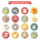 Bożenarodzeniowej nowy rok ikony mieszkania ustalony styl protestuje Santa kapeluszowego łosia etc royalty ilustracja