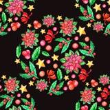 Bożenarodzeniowej poinsecji bezszwowy wzór, akwarela kwiat, uświęcone jagody, ilustracja wektor