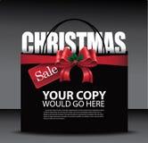Bożenarodzeniowej sprzedaży łęku torba na zakupy duży czerwony tło Obraz Stock