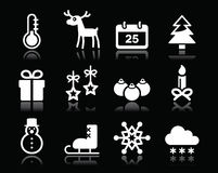 Bożenarodzeniowej zimy białe ikony ustawiać na czerni Obraz Stock