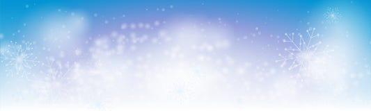 Bożenarodzeniowej zimy sztandaru błękitny tło z abstrakcjonistycznymi płatkami śniegu royalty ilustracja