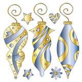 Bożenarodzeniowi baubles, gwiazdy i serce, Obraz Royalty Free