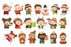 Bożenarodzeniowi charakterów dzieci, dorosli świętuje nadchodzących wakacje i ilustracji