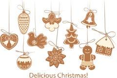 Bożenarodzeniowi ciastka, ikona, nowy rok Wektorowe ilustracje odizolowywać na bielu Zdjęcie Royalty Free