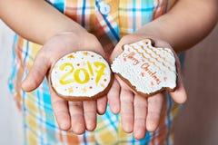 Bożenarodzeniowi ciastka z liczbą 2017 w palmach dziecko Zdjęcie Stock