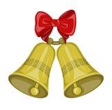 Bożenarodzeniowi dzwony z łękiem Zdjęcia Stock