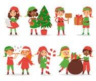 Bożenarodzeniowi elfs żartują wektorowej dziecka Święty Mikołaj pomagierów kreskówki elfish chłopiec i dziewczyna młodych charakt ilustracji