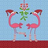 Bożenarodzeniowi flamingi ilustracja wektor