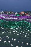 Bożenarodzeniowi girland światła na Bali zaświecają festiwal, Indonezja Fotografia Stock