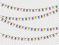 Bożenarodzeniowi jarzy się światła Girlandy z barwionymi żarówkami Xmas wakacje Bożenarodzeniowy kartka z pozdrowieniami projekta zdjęcia stock
