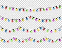 Bożenarodzeniowi jarzy się światła Girlandy z barwionymi żarówkami Xmas wakacje Bożenarodzeniowy kartka z pozdrowieniami projekta obraz royalty free